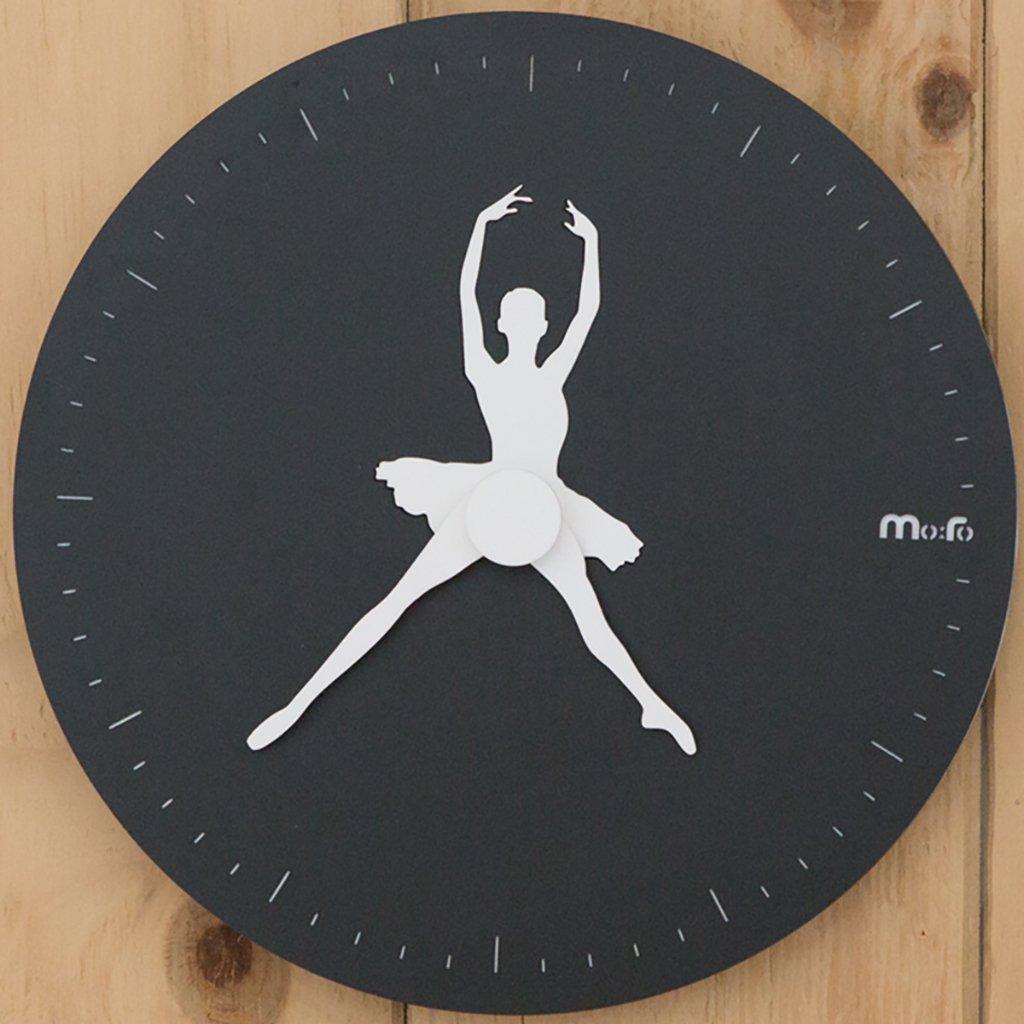 ウォールクロックサイレントスイープ現代のシンプルな時計12インチのMDFのリビングルームの家の装飾の材料,Black B07D747RDF Black Black