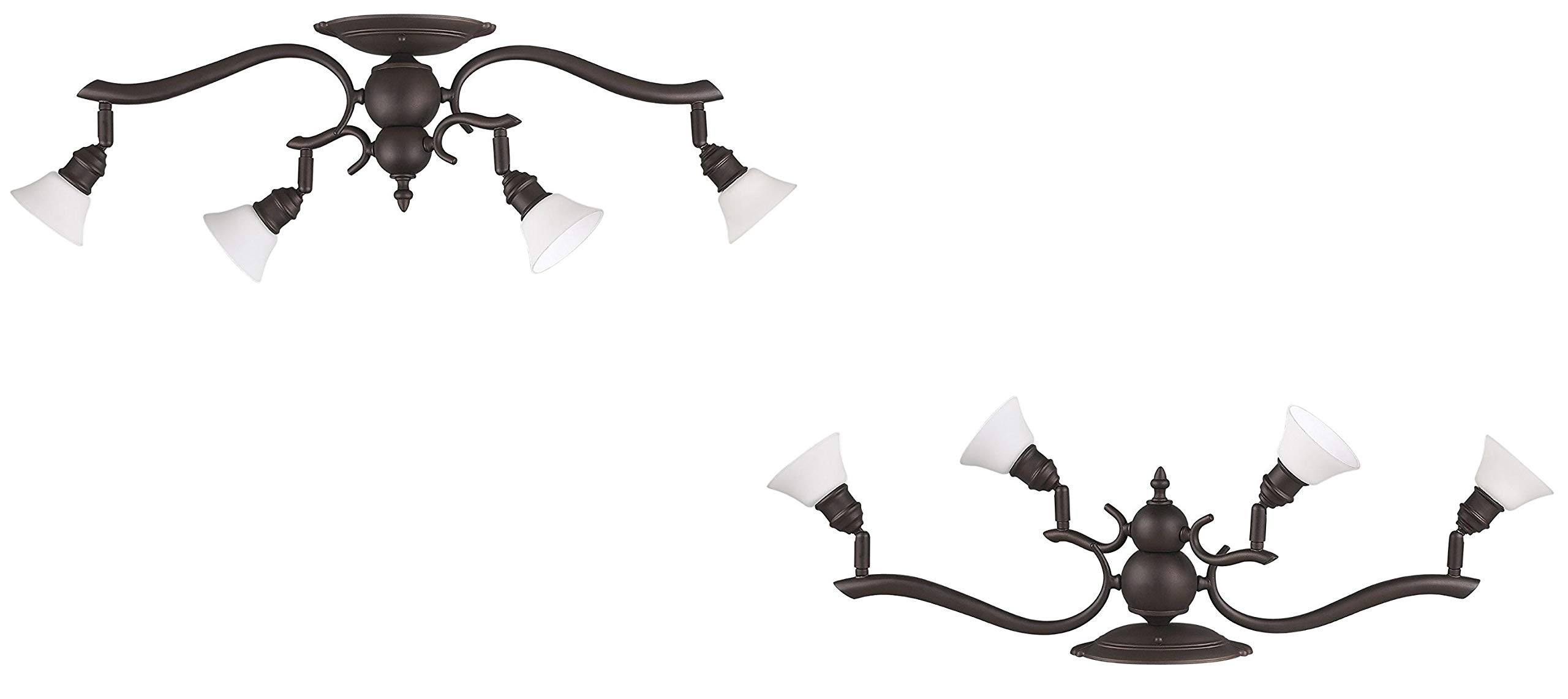 Canarm Addison 4-Light Dropped Track Lighting with Flat Opal Glass Shades, Oil Rubbed Bronze (4 Light -2 Pack)