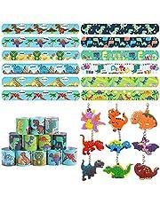 57 stuks dinosaurus-armbanden, sleutelhangers, klikband voor kinderen, dinosaurusfeest, cadeautje voor kinderen, een groot aantal patronen, geschikt voor kinderfeesten, verjaardagscadeaus