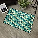 Door mat W31 x L47 INCH Indie,Pattern with Eyeglasses in Vintage Style Hipster Cool Collection,Petrol Blue Turquoise Cream Easy to Clean, no Deformation, no Fading Non-Slip Door Mat Carpet