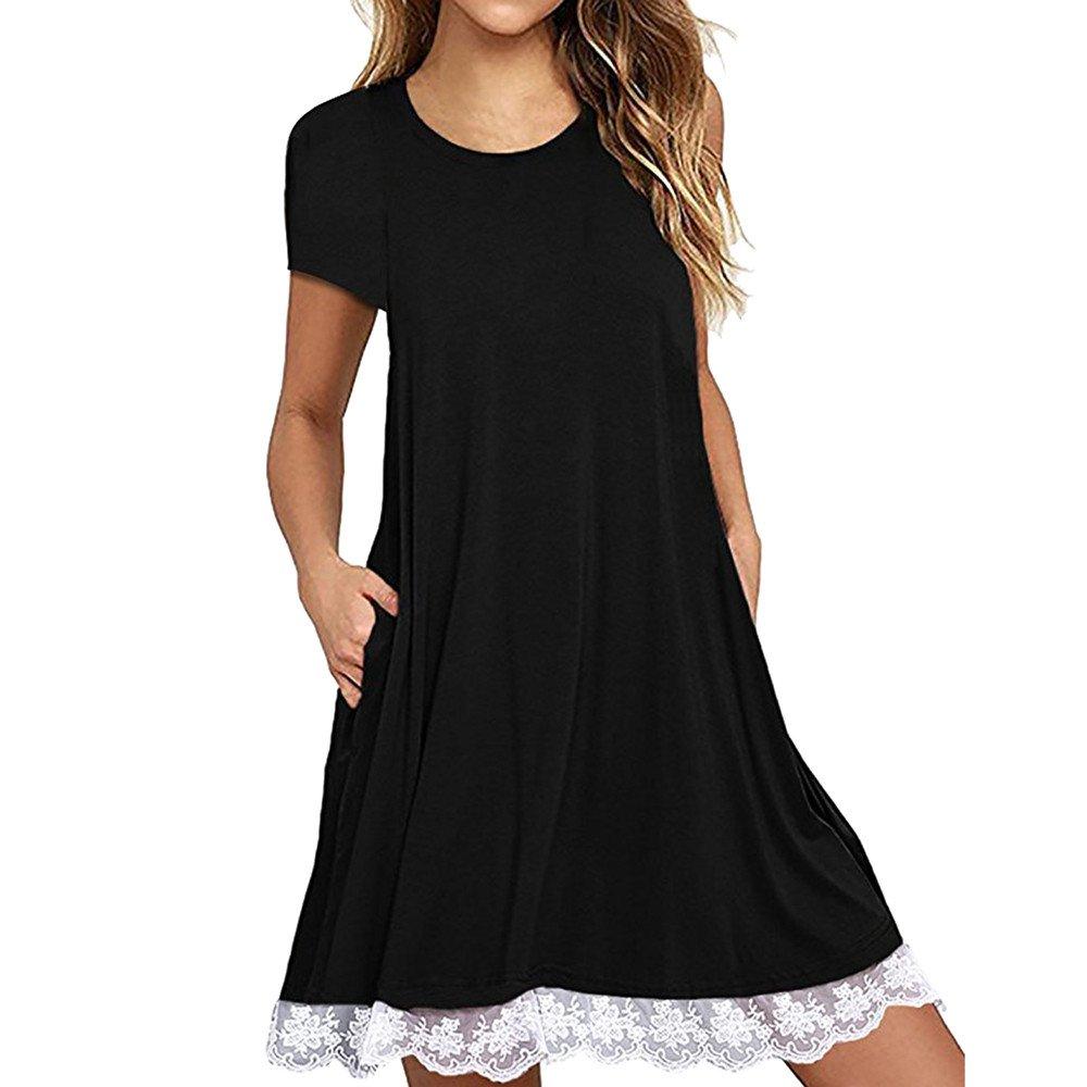 Women Short Sleeve Loose Casual T-Shirt Tops Dress Plus Size XS-4XL US 4-18 Black