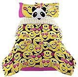 Emoji Complete Girls Bedding Comforter Set with Panda Pillow - Twin