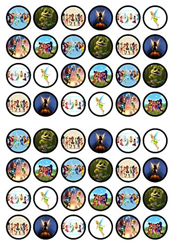 48 Tinkerbell Edible PREMIUM THICKNESS SWEETENED VANILLA, Wafer Rice Paper Cupcake Toppers/Decorations