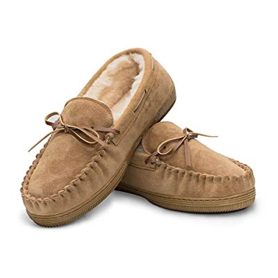 Men's Genuine Suede Leather Faux Fur Lined Moccasin Slippers, Classic Flat Slip On Indoor Outdoor Moccasins for Men | Slippers