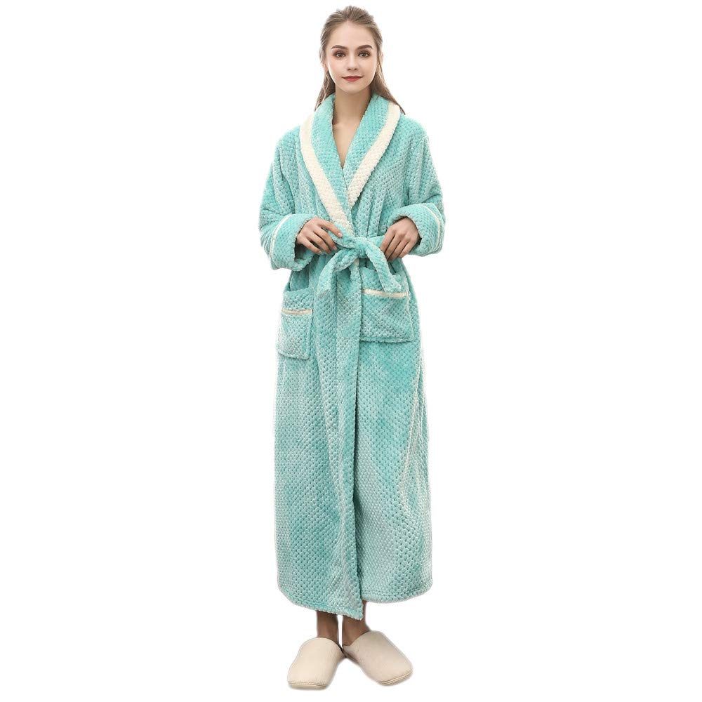 Clearance Sales Christmas Unisex Winter Plush Shawl Bathrobe Lengthened Thicken Kimono Robe Homewear Soft Sleepwear (Green, XL)