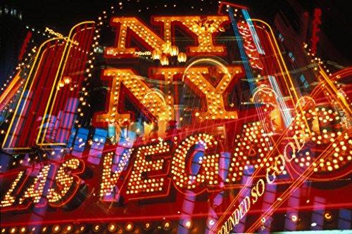 (Las Vegas New York New York Illuminated Neon Marque Signage Photo Art Print Poster 36x24 inch)
