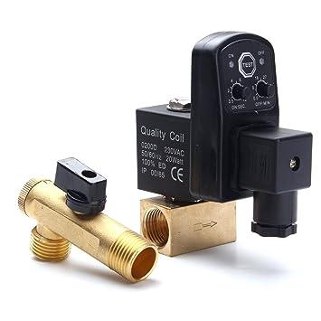 Tutoy AC220V automático electrónico Temporizador compresor de Aire automático de 2 vías válvula de desagüe