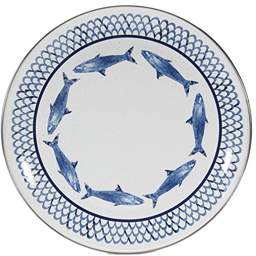 Enamelware - Fish Camp Pattern - 10 Inch Dinner Plate