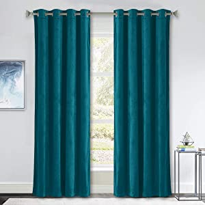NICETOWN Teal Velvet Curtains, Media Movie Theater Room Decor, Sunlight Reducing Velvet Home Theater Ring Top Drapes, Window Treatment Draperies for Living Room (2 Pieces, W52xL84-inch)