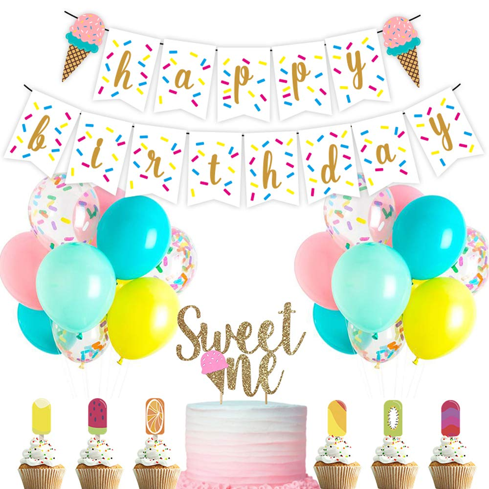 Ice Cream 1st Birthday Party Decoration Kits Banner Balloons Cake Topper Cupcake Topper Sweet Summer Ice Cream Themed Kids Birthday Party Supplies