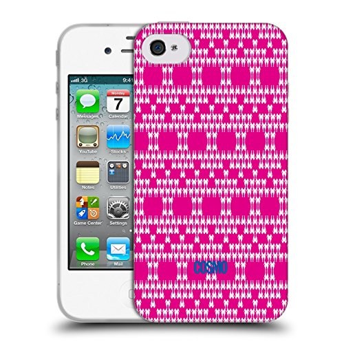 Official Cosmopolitan Hot Pink Boho Patterns Soft Gel Case for Apple iPhone 4 / 4S