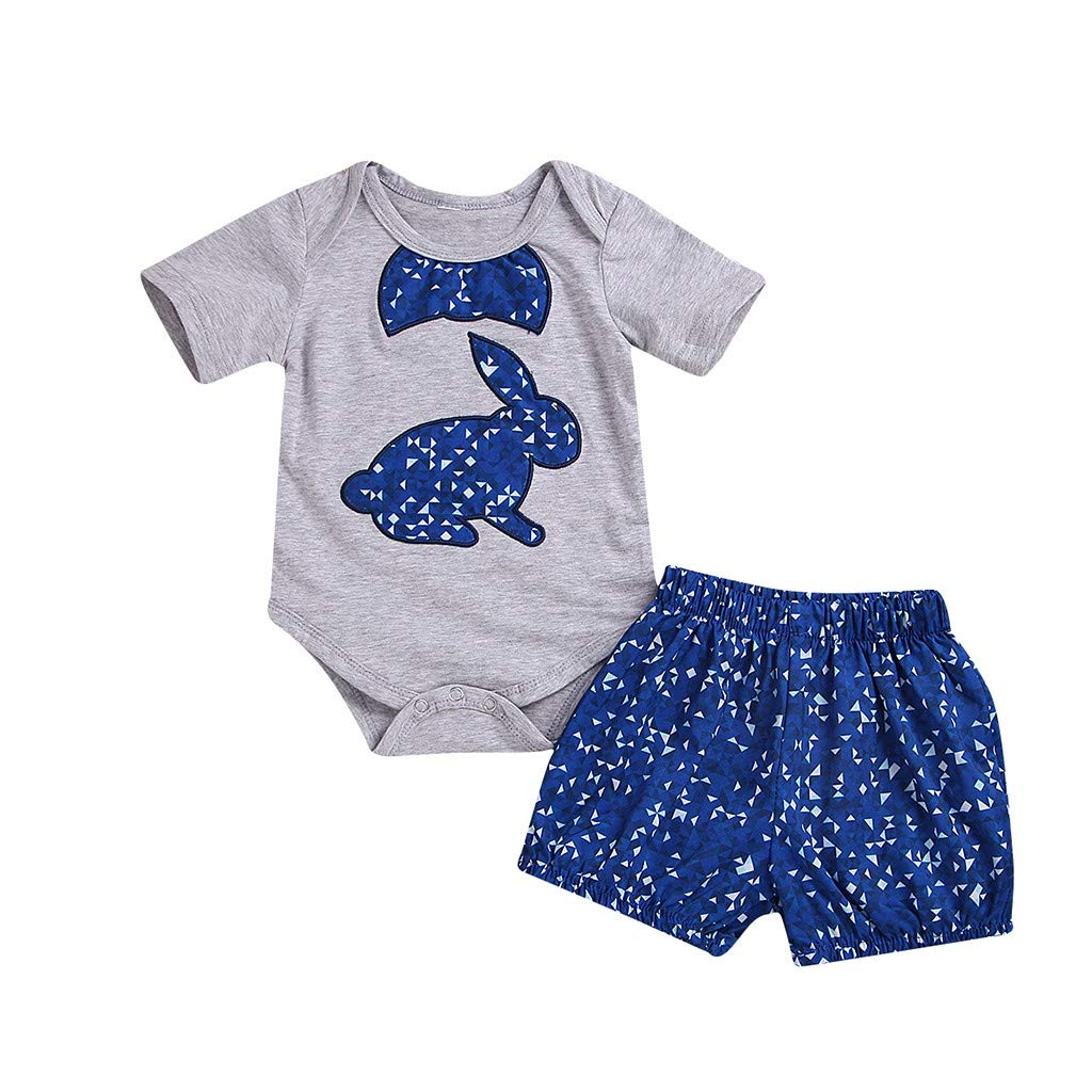 WUAI Toddler Boys Girls Jumpsuits Easter Cartoon Rabbit Print Outfit Clothes Romper Bodysuit Romper+Shorts Set Outfit(Grey,3-6 Months)