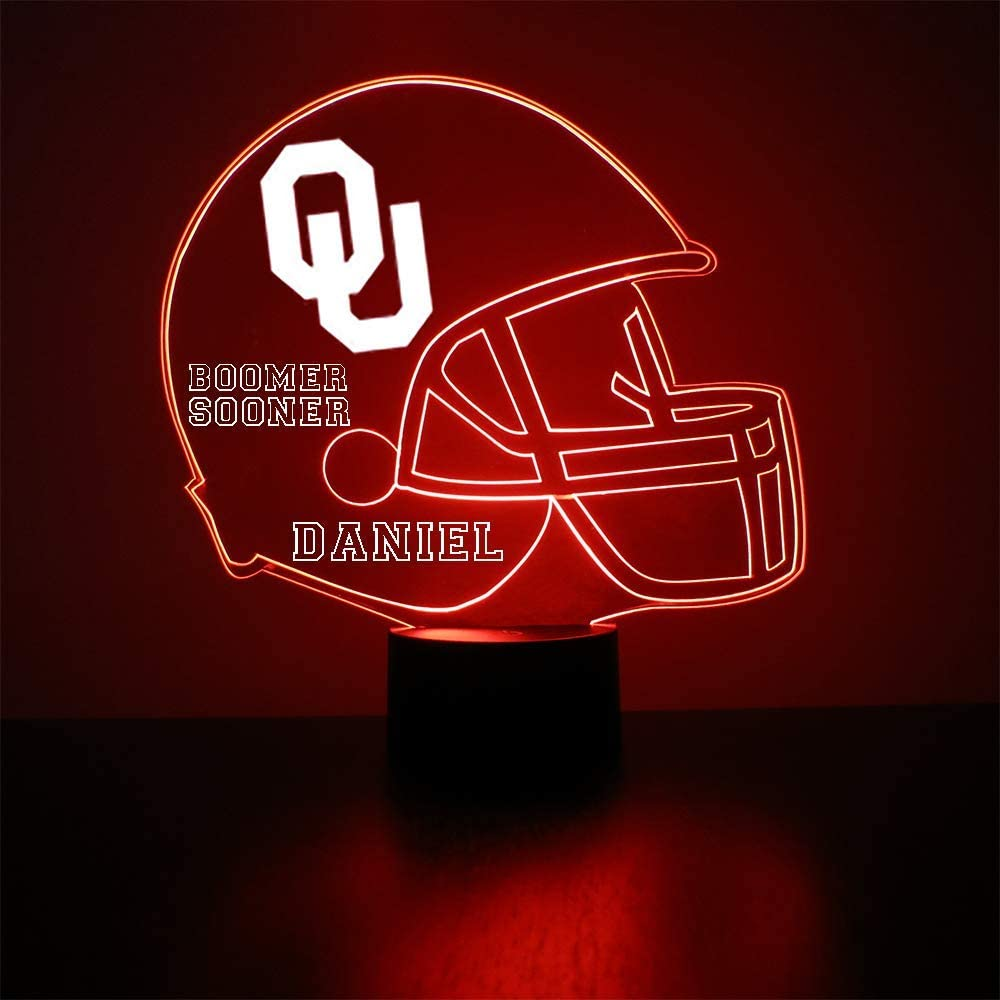Mirror Magic Store College Football Helmet Sports Fan Lamp/Night Light - LED - Personalize for Free - Featuring Licensed Decal