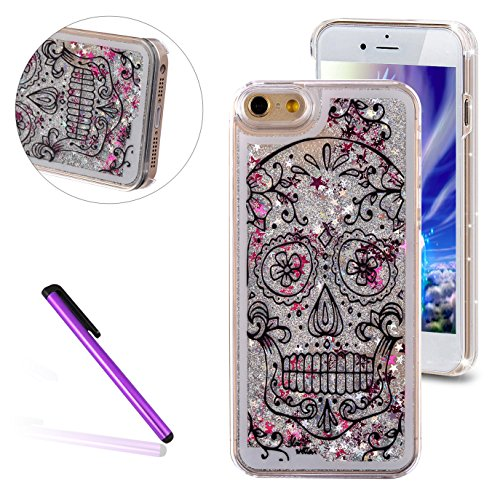 iPhone 6 Plus/6S Plus Case, EMAXELER Horror Painted Series 3D Glitter Liquid Floating Bling Moving Hard Protective Cellphone Case for iPhone 6 Plus / 6S Plus + Send 1Pcs Stylus Pen--Skull: Sliver