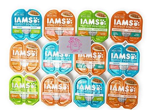 IAMS Perfect Portions Grain Free Premium Wet Cat Food 6 Flavor Variety 12 twin-Packs (24 Total Servings) Free Dog Treat Samples