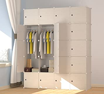 Premag Wood Pattern Portable Wardrobe For Hanging Clothes