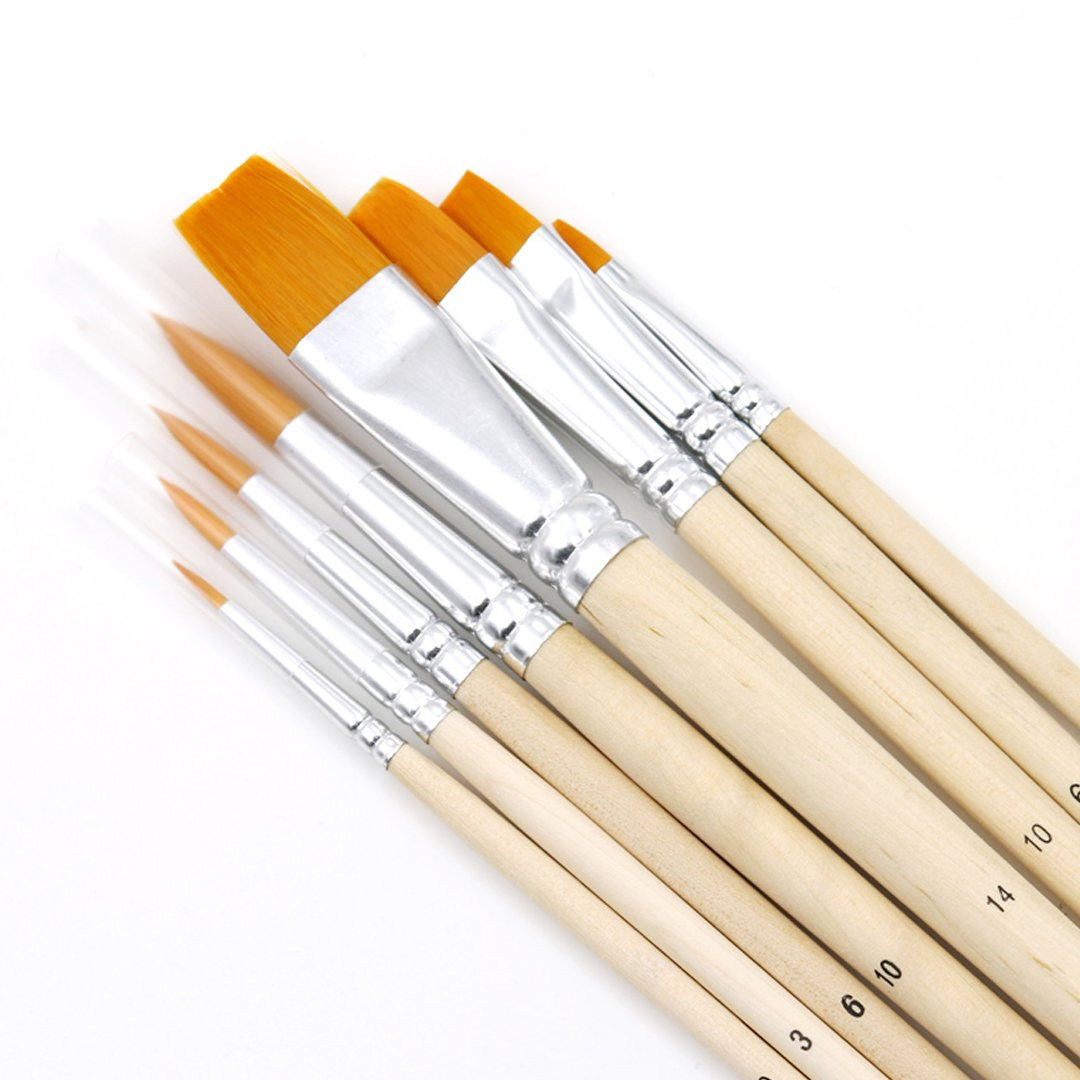 Amily 8 Pcs Bamboo Paint Brush Set for Watercolor Oil Acrylic Painting