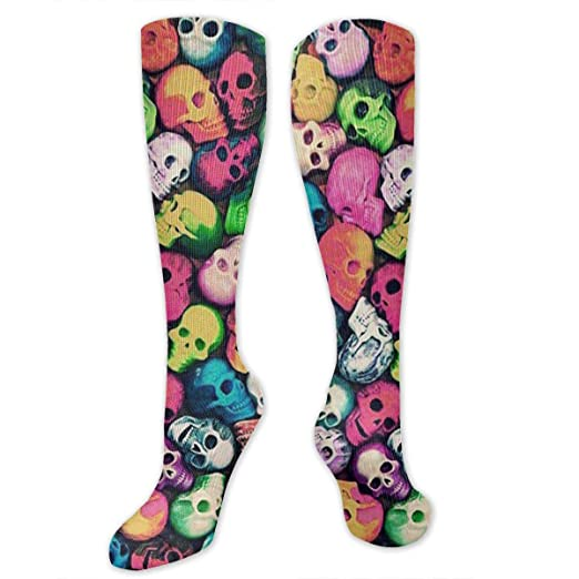 d2b30dc9718 Amazon.com  Horizon-t Long Socks Colorful Skull Background Women Warm Knee  High Stockings Sexy Socks  Clothing
