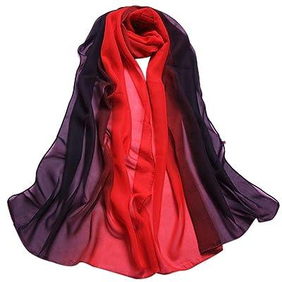 Amlaiworld FemmesChâle foulard en mousseline de soie foulards dégradé de couleur longue écharpe féminine, 160*50CM