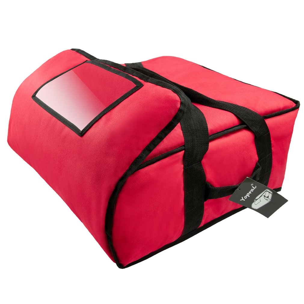 Yopralbags Insulated Food Delivery Bag Pizza Boxes Professional Warmer Carrier Moisture Free for 4-16'' or 3-18'' (Red, 20''X20''X9'') by yopralbags (Image #2)