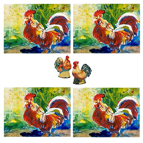 (Colorful Rooster Kitchen Decor 4 Cloth Placemats and Large Ceramic Rooster Chicken Salt and Pepper Shakers Bundle)