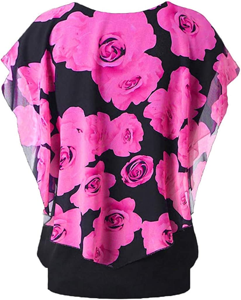 Casual Round Neck Short Sleeve Double Layer T-Shirt Blouse S-5XL Clearance Womens Plus Size Printed Top