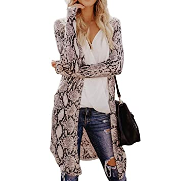Womens Leopard Kimono Cardigan Open Front Boho Camo Long Sleeve Tops Maxi Coat//A