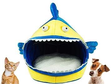 Cálida Caseta de interno de suave peluche para perros y gatos de pequeño talla a forma de pescado: Amazon.es: Jardín