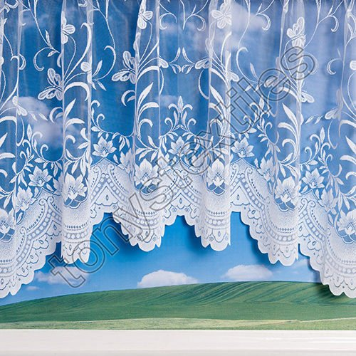 Mirabel Jardiniere Floral Butterfly Window Nett Sheer Curtain Panel with Rod Pocket Top - 100