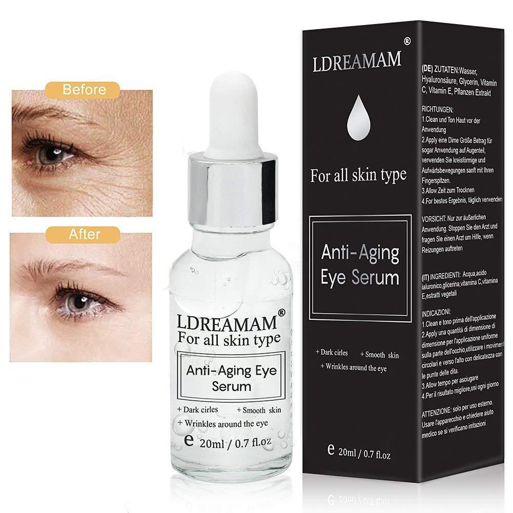 suero para el contorno de ojos, antiedad y antibolsas; también sirve como suero antienvejecimiento para la cara: reduce las líneas de expresión y las ...