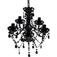 SOULONG Lámpara araña Vintage - 5 Luces,Color Negro