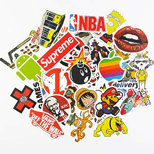 (Sticker Pack 100Pcs,KONLOY Waterproof Vinyl Stickers for Water Bottles,Laptop,Kids,Cars,Motorcycle,Bicycle,Skateboard Luggage,Bumper Stickers Hippie Decals Bomb)