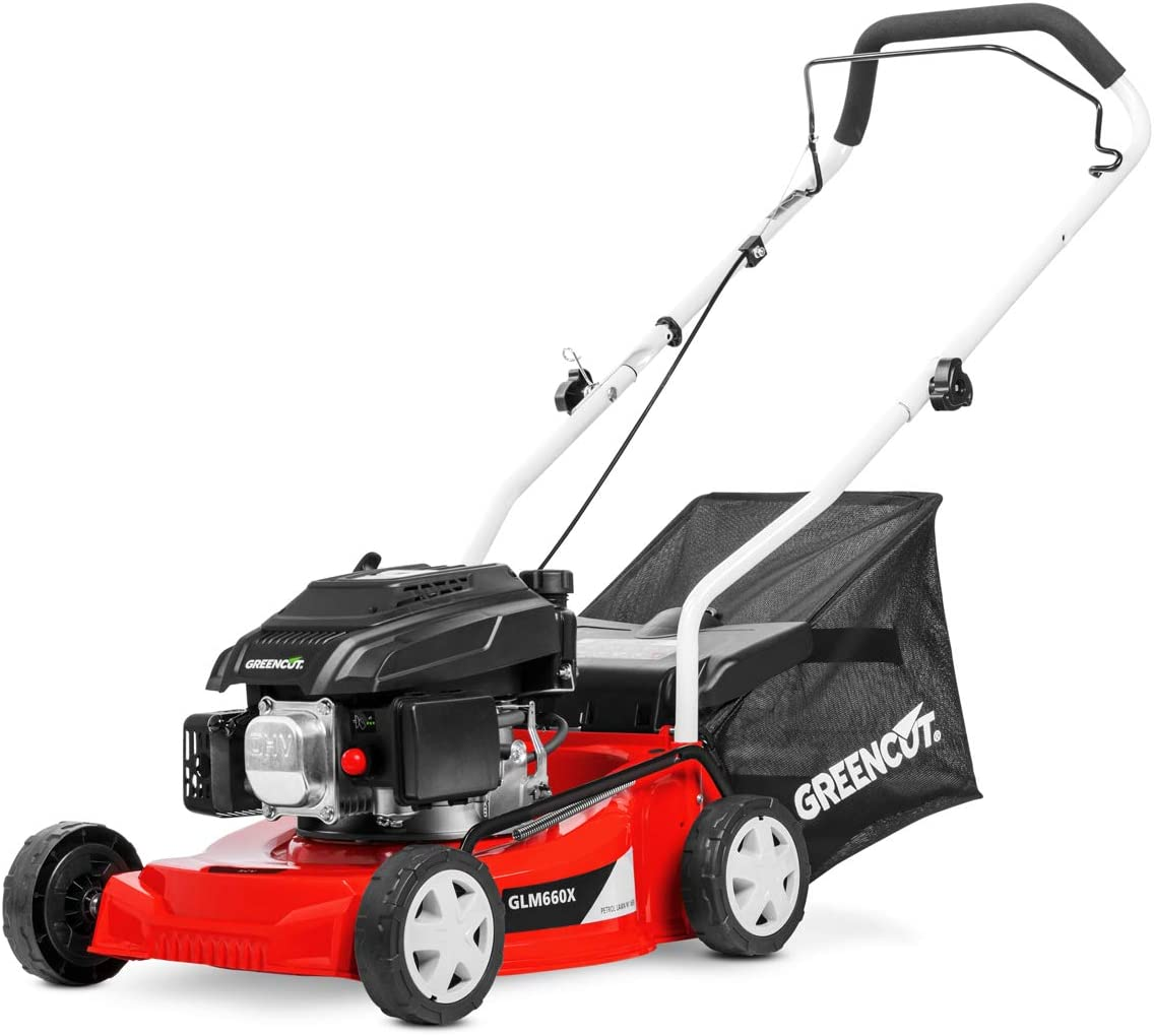 GREENCUT GLM660X - Cortacésped de gasolina 139cc y 5cv con arranque manual y ancho de corte de 407mm (o 16'') de tipo rotativo, Altura de Corte Regulable, Capacidad Saco de Recogida (40L)