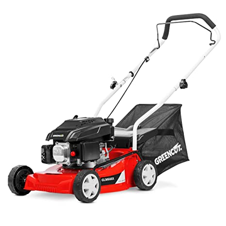 Greencut GLM660SX - Cortacésped con tracción manual con motor de gasolina de 139cc y 5cv y arranque manual Easy-start, con un ancho de corte de 407mm ...