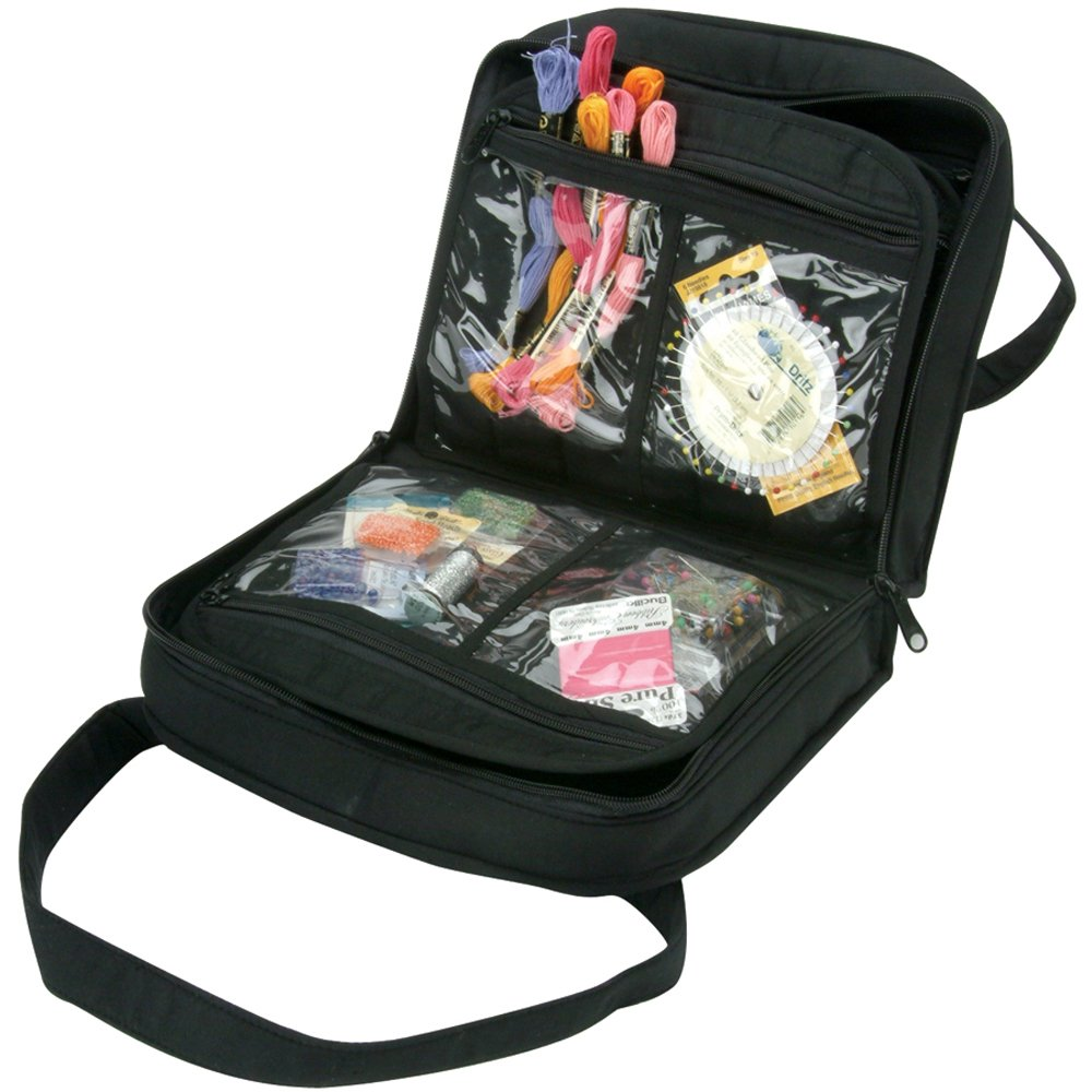 Papermania craft tote - Yazzii 8 8 X 10 3 X 3 Inch Quilted Cotton Craft Bag Black Amazon Co Uk Kitchen Home