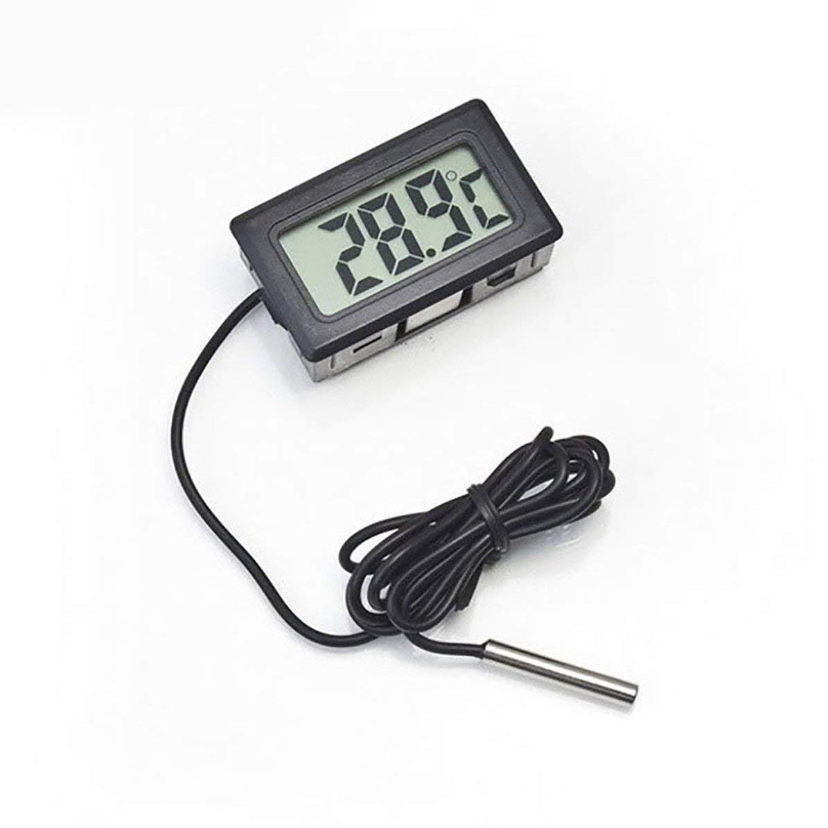 Corneliaa Termometro per Auto Ornamenti per Auto Display LCD Orologio Digitale Misuratore di Temperatura Auto-Styling per Serbatoio di Pesce Frigorifero