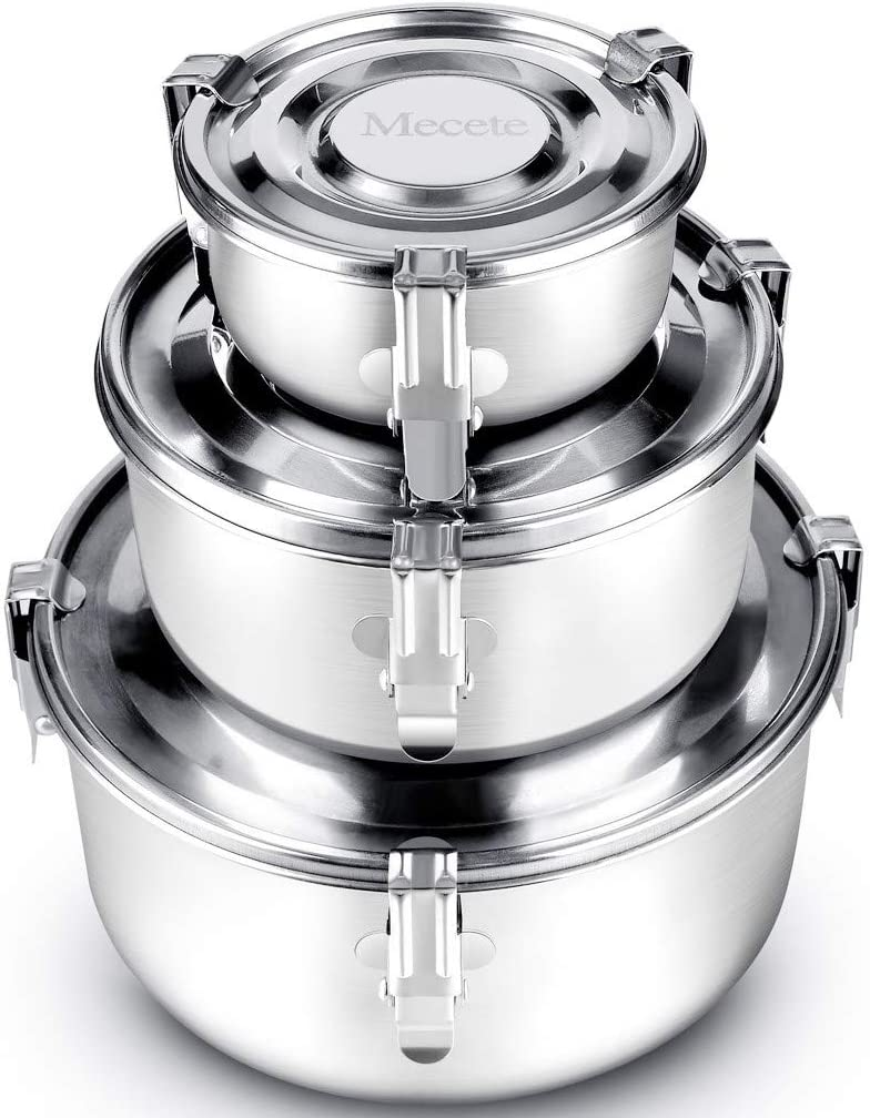 Mecete Enhanced Stainless Steel Food Storage Containers 304 New Clips - Leak-Proof, Airtight, Smell-Proof - Perfect For Camping Trips, Lunches, Leftovers, Soups, Salads & More (Set of 3)