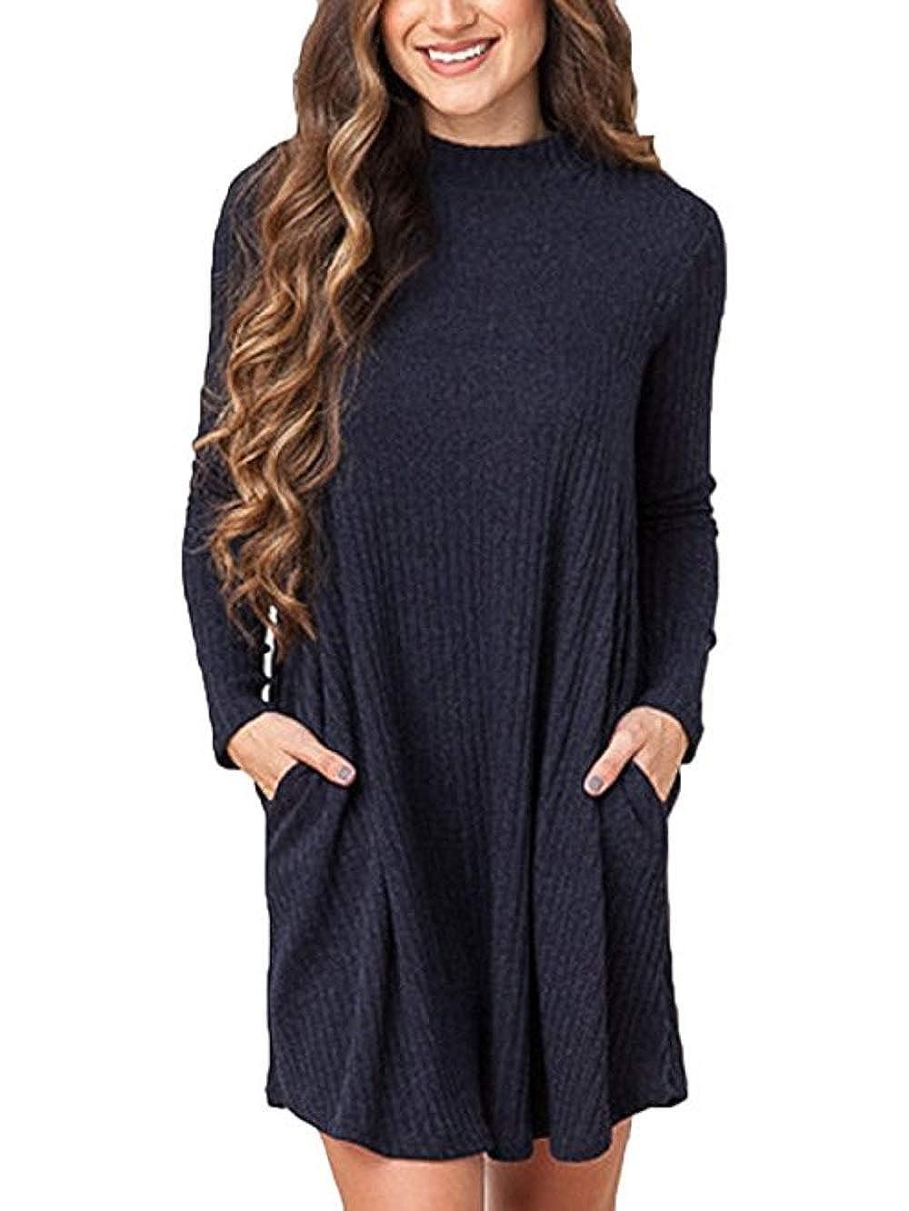 TALLA EU 38=Tag Size L. Summer Mae Mujer Jersey Invierno Suéter Largo Mangas Largas Vestido Corto Elegante Gris Oscuro EU 38=Tag Size L