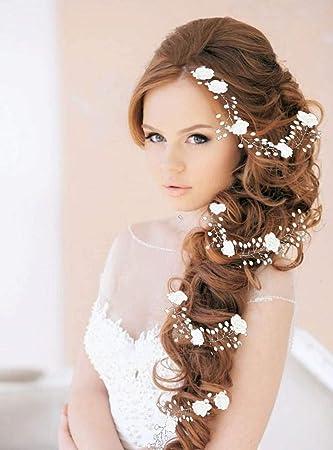 Amazon.com   Yean Flower Bride Wedding Hair Vine Silver Bridal Headband Hair  Accessories for Women and Girls (Silver)   Beauty 77c96e912569