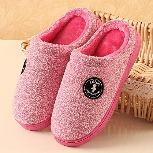 Icegrey Unisex Zapatillas De Estar Por Casa Moda Hecha Punto Acolchado Suave Polar Rosa roja