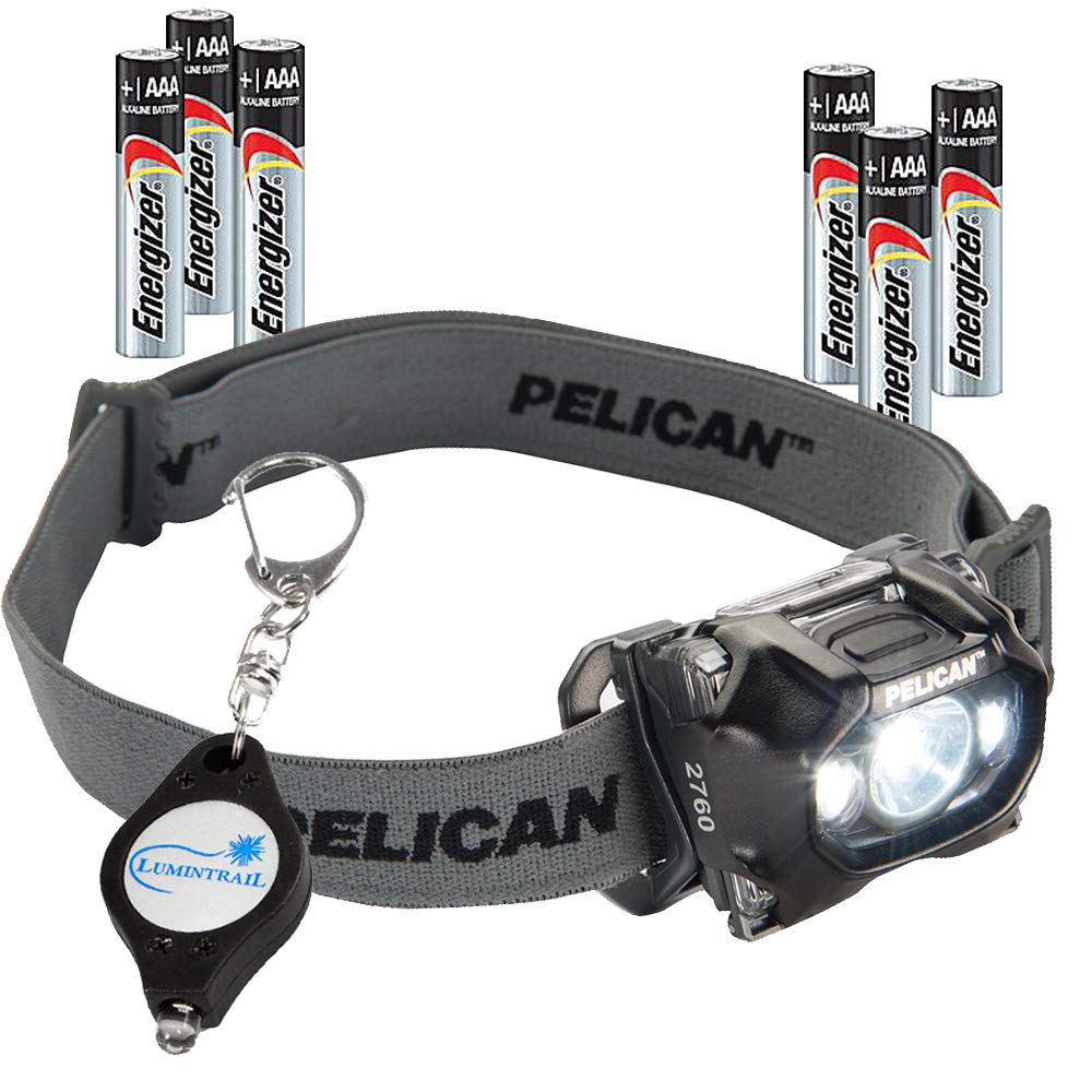 Pelican 2760 LED Headlamp 289 Lumens up to 11 hr Run Time Water Resistant & Night Vision Red LED Bundle with 3 Extra AAA Energizer Batteries & a Lumintrail Keychain Light