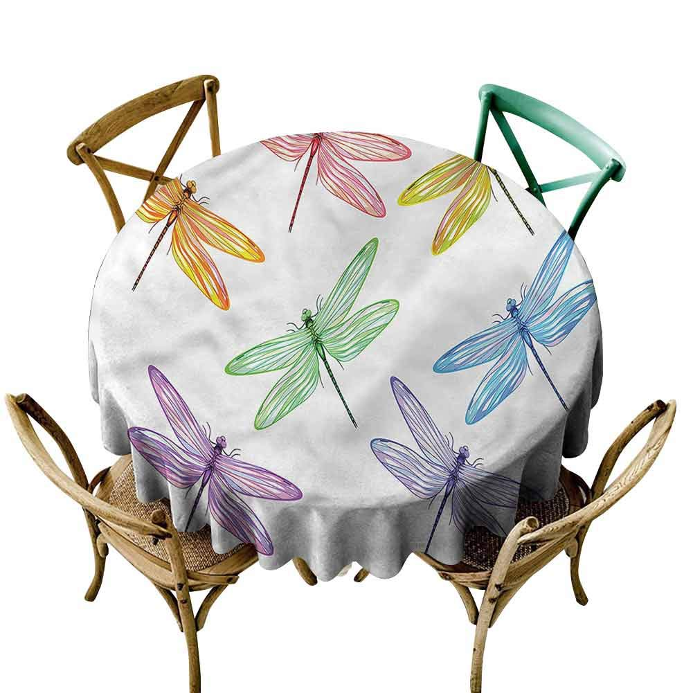 UETECH Restaurant Round Tablecloth Dragonfly,Colored Elongated Patches Printed Tablecloth Diameter 54'' by UETECH