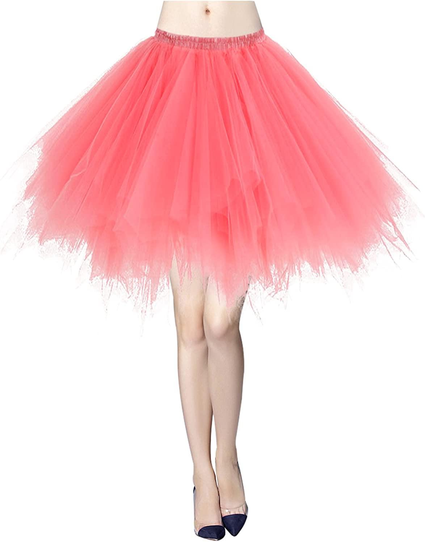 Gardenwed Womens Short Rockabilly Retro Party Tutu Ballet Bubble Skirt 50s Vintage Petticoat