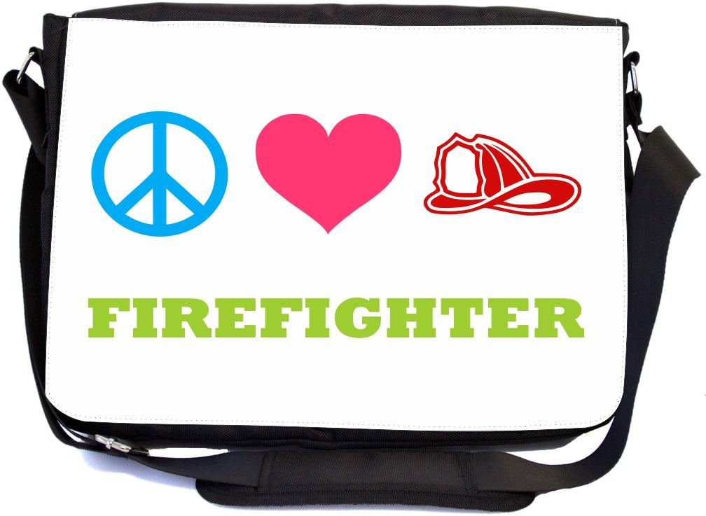 Rikki Knight Peace Love Firefighter Design Multifunctional Messenger Bag - School Bag - Laptop Bag - with Padded Insert for School or Work - Includes Matching Compact Mirror