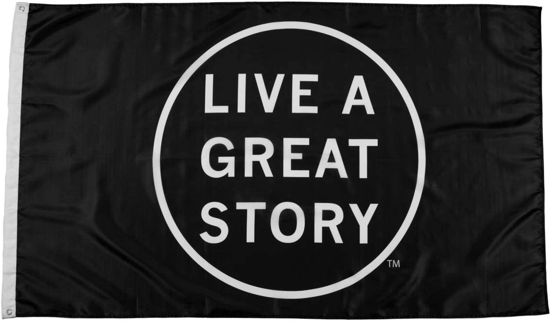 LIVE A GREAT STORY 3x5 Flags - Inspirational Wall Art Dorm Decor - Cool Flags Apartment Decor - Motivational Wall Art - Polyester with Brass Grommets - College Flag Wall Decor - Apartment Decorations