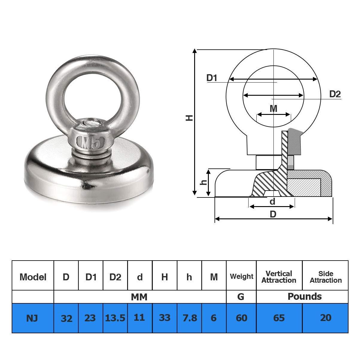 2 Pezzi Wukong Ganci Magnetici,32mm Magnete Neodimio N52 35kg tirando Forza Magnete Rotondo