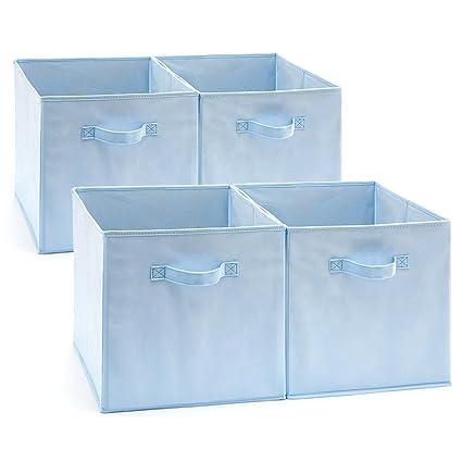 EZOWare Caja de Almacenaje x 4 Unidades, Almacenaje Juguetes, Caja para Ropa (33