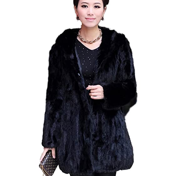 Fur Story Women's Long Real Mink Fur Coat with Hood at Amazon ...