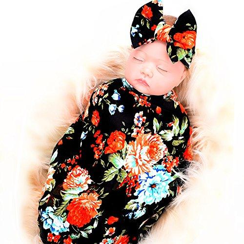 Galabloomer Newborn Receiving Blanket Headband Set Flower Print Baby Swaddle Receiving Blankets Black Rose