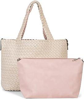DAMEN TASCHE Geflochten Shopper Tote Bag Handtasche Leder Optik Schultertasche